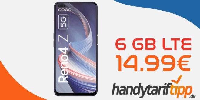 OPPO RENO4 Z 5G 128GB mit 6 GB LTE nur 14,99€ monatlich
