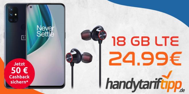 OnePlus Nord N10 5G & OnePlus Bullets Wireless 2 In-Ear Kopfhörer & 50€ Cashback mit 18 GB LTE im Telekom Netz nur 24,99€ monatlich