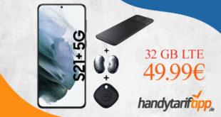 SAMSUNG GALAXY S21+ (S21Plus) 5G & SAMSUNG TRIO CHARGER & Galaxy Buds Live & SmartTag mit 32GB LTE im Telekom Netz nur 49,99€ monatlich