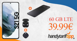 Samsung Galaxy S21 5G & Samsung Trio Charger & Galaxy Buds Live & Galaxy SmartTag mit 60 GB LTE nur 39,99€ monatlich