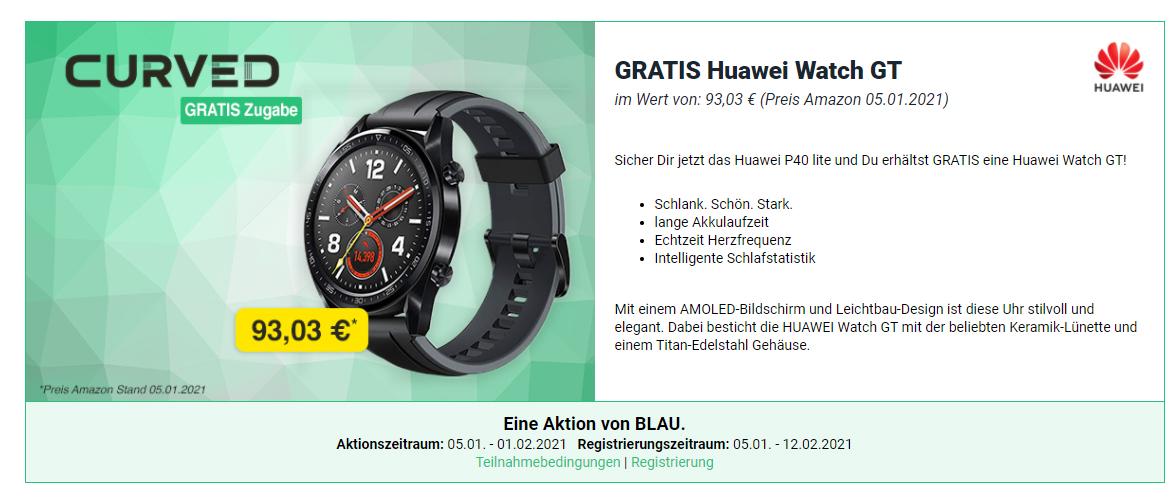 Sicher Dir jetzt das Huawei P40 lite und Du erhältst GRATIS eine Huawei Watch GT