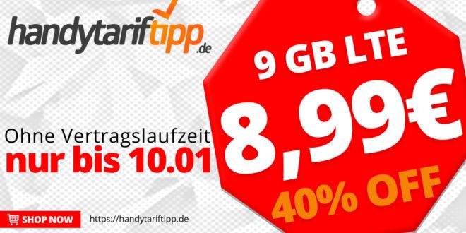 Tarif-Traum: 9 GB LTE für 8,99€ monatlich - auch ohne Vertragslaufzeit
