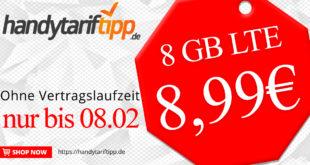 8 GB LTE & Allnet Flatrate ohne Vertragslaufzeit nur 8,99€ monatlich