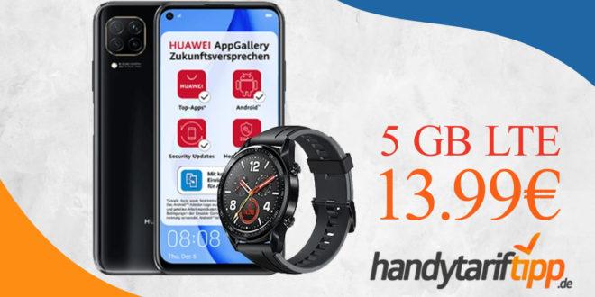 Huawei P40 Lite & Huawei Watch GT mit 5 GB LTE nur 13,99€ monatlich