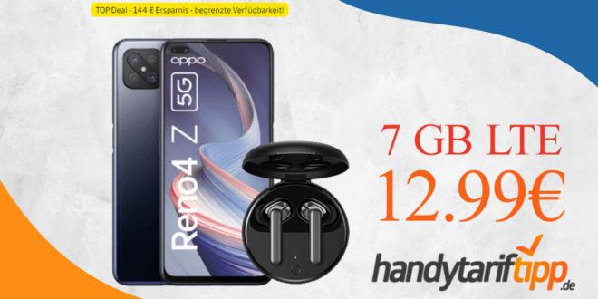 Oppo Reno 4Z 5G & Oppo Enco W31 Headset mit 7 GB LTE nur 12,99€ monatlich - Tarif effektiv umsonst