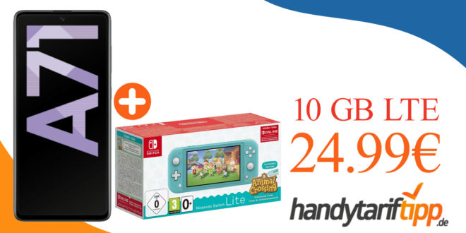 Samsung Galaxy A71 & Nintendo Switch Lite inkl. Animal Crossing mit 10 GB LTE nur 24,99€ monatlich