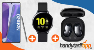 Samsung Galaxy Note20 & Samsung Galaxy Buds Live & Samsung Galaxy Watch Active2 mit unlimited LTE nur 39,99€ monatlich