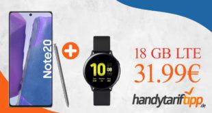 Samsung Galaxy Note20 & Samsung Galaxy Watch Active2 mit 18 GB LTE im Telekom oder Vodafone Netz nur 31,99€ monatlich