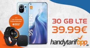 Xiaomi Mi 11 5G 256 GB & Xiaomi Mi Watch & Xiaomi Mi Box S mit 30 GB LTE (inkl. 5G) nur 39,99€ monatlich