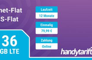 12 Monate Allnetflat + 36 GB LTE Datenvolumen (monatlich 3GB) einmalig nur 79,99 Euro
