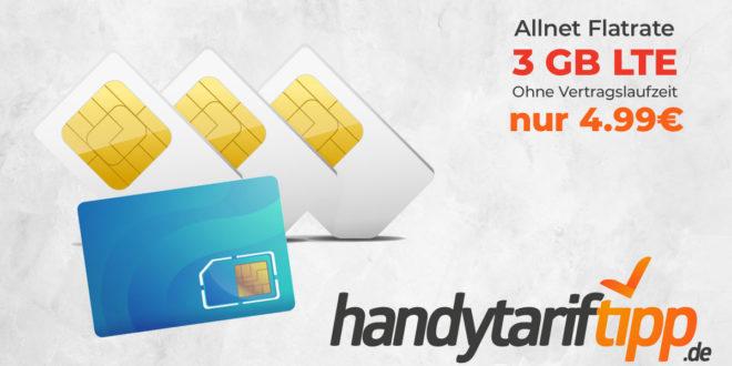 3 GB LTE & Allnet Flat ohne Vertragslaufzeit nur 4,99€ monatlich