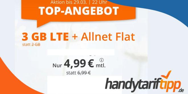 Allnet-Flat mit 3 GB LTE Datenvolumen für winzige 4,99€ im Monat - auch ohne Vertragslaufzeit