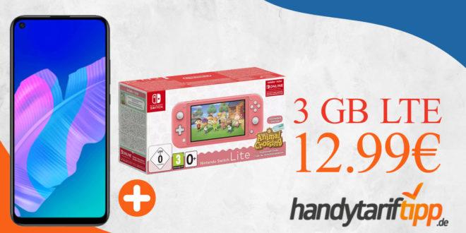 Huawei P40 lite E & Nintendo Switch Lite inkl. Animal Crossing mit 3 GB LTE nur 12,99€ monatlich - nur 29 Euro Zuzahlung