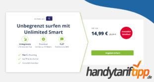 Monatlich kündbar! Unbegrenzt surfen mit bis zu 10 Mbits im Download nur 14,99€ monatlich
