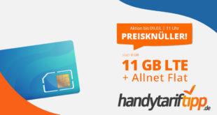 PREISKNÜLLER ohne Vertragslaufzeit! 11 GB LTE & Allnet Flatrate nur 11,11€ monatlich