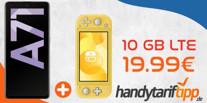 Samsung Galaxy A71 & Nintendo Switch Lite mit 10 GB LTE nur 19,99€ monatlich