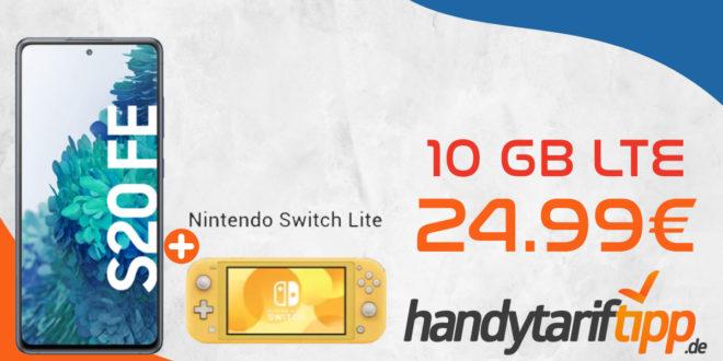 Samsung Galaxy S20 FE & Nintendo Switch Lite mit 10 GB LTE nur 24,99€ monatlich