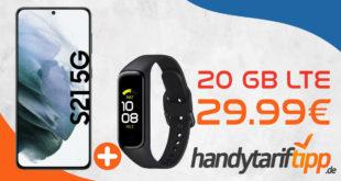 Samsung Galaxy S21 5G & SAMSUNG Galaxy Fit2 Fitnesstracker mit 20 GB LTE nur 29,99€ monatlich