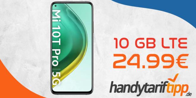 Xiaomi Mi 10T Pro 5G mit 10 GB LTE nur 24,99€ monatlich