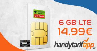 6 GB LTE & Allnet Telefonie Flat in alle dt. Netze & 300€ Geschenk-Coupon nur 14,99€ monatlich