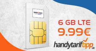 6 GB LTE & Allnet TelefonieSMS-Flat in alle dt. Netze & 150€ Geschenk-Coupon nur 9,99€ monatlich.
