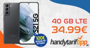 Happy Payday - SAMSUNG GALAXY S21 5G mit 100€ Samsung Pay Guthaben & 40 GB LTE für nur 34,99€ monatlich