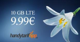Ohne Vertragslaufzeit - 10 GB LTE statt 8 GB nur 9,99€ monatlich