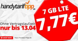 Ohne Vertragslaufzeit - Allnet-Flat Tarif mit 7 GB LTE Surfspaß nur 7,77€ monatlich
