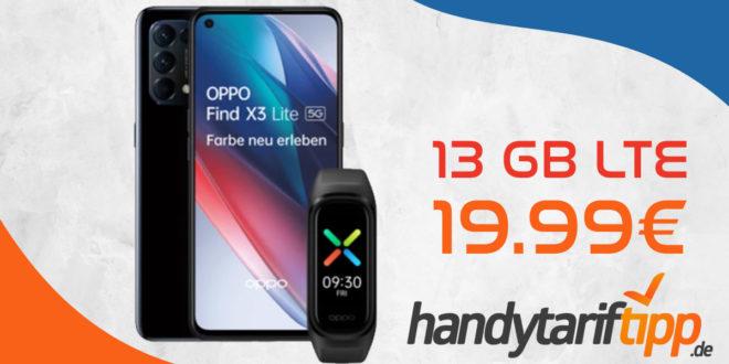 Oppo Find X3 Lite 5G & Oppo Band Sport mit 13 GB LTE nur 19,99€ monatlich – nur 1 Euro Zuzahlung und kein Anschlusspreis