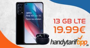 Oppo Find X3 Lite 5G & Oppo Enco X Bluetooth Headset mit 13 GB LTE nur 19,99€ monatlich - nur 1 Euro Zuzahlung und kein Anschlusspreis