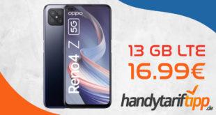 Oppo Reno 4Z 5G mit 13 GB LTE nur 16,99€ monatlich