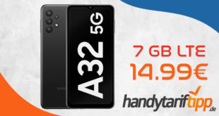 Samsung Galaxy A32 5G mit 7 GB LTE nur 14,99€ monatlich