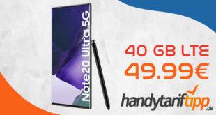 Samsung Galaxy Note20 Ultra für 49€ Zuzahlung + 100 € Samsung Pay Guthaben mit 40 GB LTE5G für 49,99€ monatlich - Effektiv 3,74€ monatlich für den Tarif