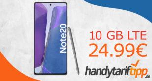 Samsung Galaxy Note20 mit 10 GB LTE nur 24,99€ monatlich