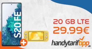 Samsung Galaxy S20 FE & Nintendo Switch Lite mit 20 GB LTE nur 29,99€ monatlich