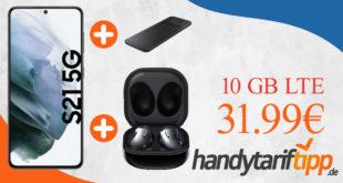 Samsung Galaxy S21 5G & Samsung Galaxy Buds Live & Samsung Trio Charger mit 10 GB LTE im Telekom Netz nur 31,99€ monatlich