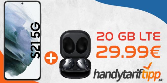 Samsung Galaxy S21 5G & Samsung Galaxy Buds Live mit 20 GB LTE nur 29,99€ monatlich