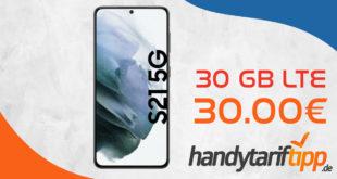 Samsung Galaxy S21 5G mit 10 GB LTE nur 29,99€ monatlich und mit 30 GB LTE nur 30€ monatlich