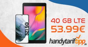 Samsung Galaxy S21 für 1€ Zuzahlung & Samsung Galaxy Tab A8.0 & Select & Stream mit o2 Free M Boost (40 GB LTE) für 53,99€ monatlich