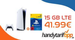 Sony PlayStation 5 Disk Edition inkl. PlayStation Plus (2x12 Monate) mit 15 GB LTE nur 41,99€ monatlich