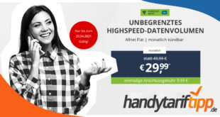 Unbergenztes Highspeed-Datenvolumen - mit bis zu 225 Mbits LTE & monatlich kündbar nur 29,99€ monatlich