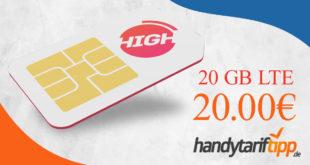 20 GB LTE im Telekom Netz für 20 Euro monatlich - kein Anschlusspreis