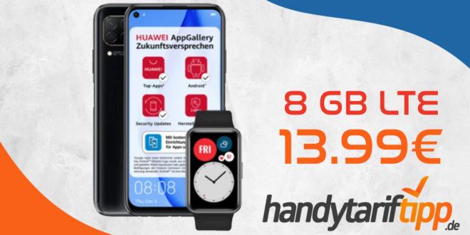 Huawei P40 Lite & Huawei Watch Fit mit 8 GB LTE nur 13,99€ monatlich