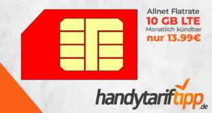 Monatlich kündbare Allnet Flats im Vodafone Netz - 5 GB LTE für 9,99€ - 10 GB LTE für 13,99€ und 15GB LTE für 16,99€ - derzeit kein Anschlusspreis