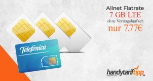 Ohne Vertragslaufzeit Knaller - 7 GB LTE nur 7,77 Euro monatlich. Nur bis zum 01.06 um 11 Uhr bestellbar.