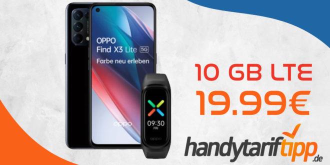 Oppo Find X3 Lite 5G & Oppo Band Sport mit 10 GB LTE nur 19,99€ monatlich – nur 1 Euro Zuzahlung und kein Anschlusspreis
