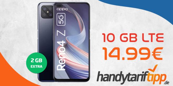 Oppo Reno 4Z 5G mit 10 GB LTE nur 14,99€ monatlich - nur 1 Euro Zuzahlung und kein Anschlusspreis