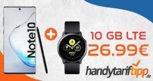 Samsung Galaxy Note10 & Galaxy Watch Active mit 10 GB LTE nur 26,99€ monatlich