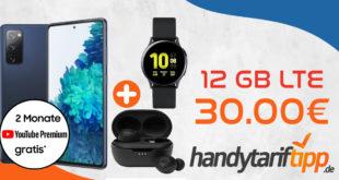 Samsung Galaxy S20 FE & Samsung Galaxy Watch Active2 & JBL Tune 115TWS Headset mit 12 GB LTE nur 30€ monatlich - einmalige Zuzahlung nur 4,99 Euro