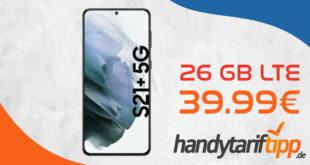 Samsung Galaxy S21+ 5G (S21Plus) mit 26 GB LTE im Telekom Netz für 39,99€ monatlich - einmalige Zuzahlung 99 Euro